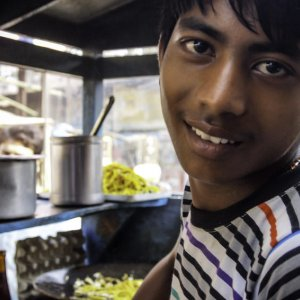 Man working in food stall