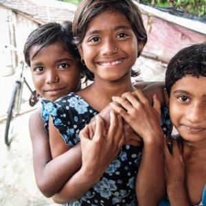 Three shy girls