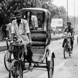 Cycle rickshaw and bicycle
