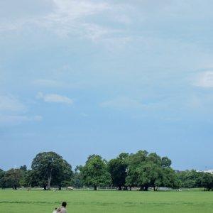 芝生の上を歩く男