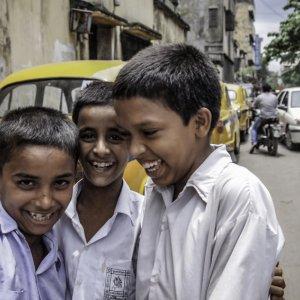 Bashful school boys