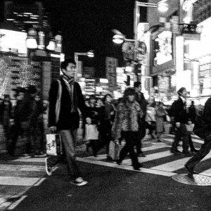 Pedestrian crossing street in Shinjuku