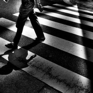 Figure crossing street