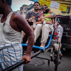 Family on rickshaw