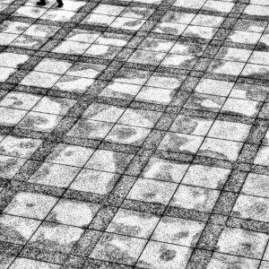 Man walking through pattern