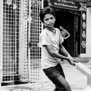 Boy swinging bat