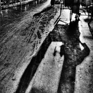 long shadow of cycle rickshaw