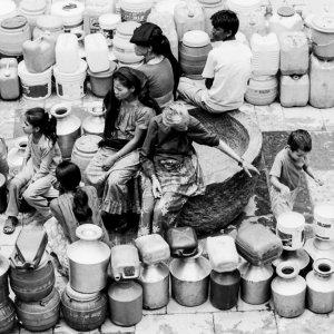 Many buckets around well