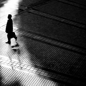 Silhouette between shadows