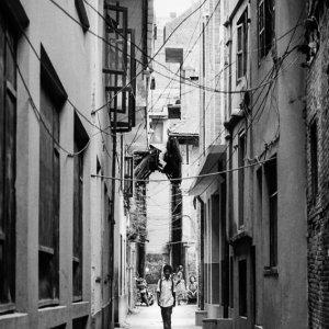 Boy walking lane