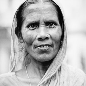 Woman with pierced nose