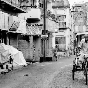 Cycle rickshaw in deserted street