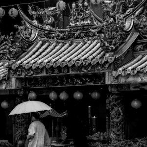 Umbrella in front of temple