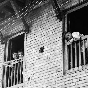 Boys leaning out of window