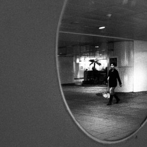 Round mirror in passage in Zhongxiao Fuxing Station