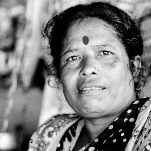Woman with bindi and pierce