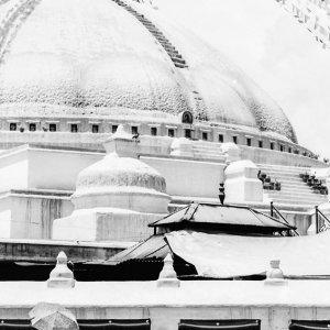 ボダナートの仏塔を回る日傘