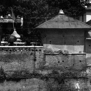 パシュパティナートの境内をトボトボ歩く人影