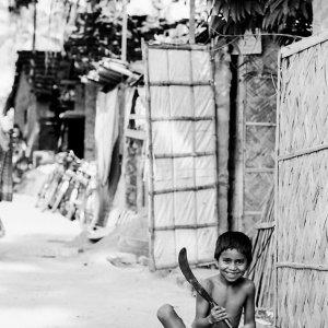 Boy holding chopper