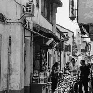 山塘街の行商人