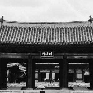 Woman with an umbrella in front of Myeongjeongmun Gate