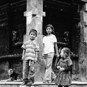 Children in front of temple in Bungamati