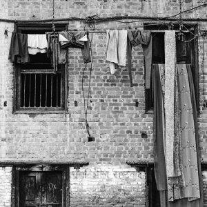 Saree hung from window
