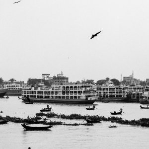 Rowboats floating on Buriganga River