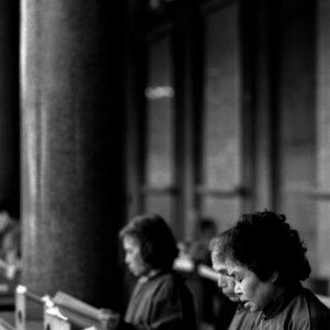 Women reading script
