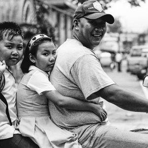 Family on same motorbike