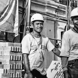 Construction workers wearing helmet