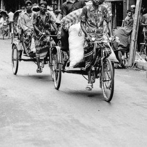 Cycle rickshaws running