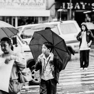 Boy putting umbrella up