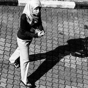 Shadow of woman wearing Hijab