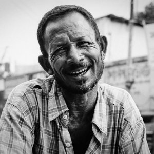 smile wrinkles of rickshaw man