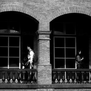 Man and woman in corridor