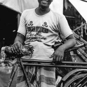 Rickshaw wallah smiling