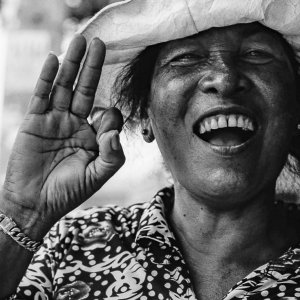 Woman talking cheerfully