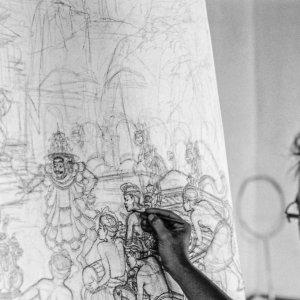 Man drawing sketch