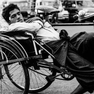 Sleeping on pedicab