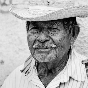Old man wearing cowboy hat