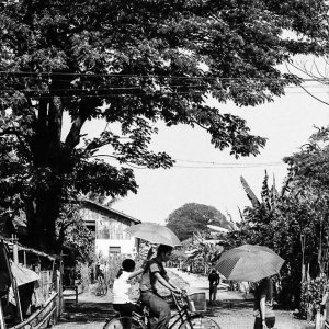 Couple at railway crossing