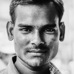 Firm face of young man