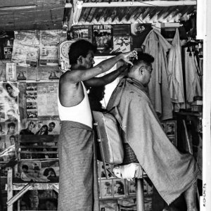 Barber working