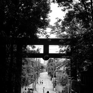 Woman on other side of Torii