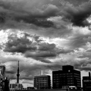 Clouds above buildings