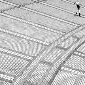 Woman in spacious square