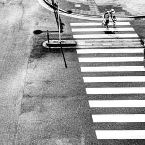 横断歩道の家族連れ