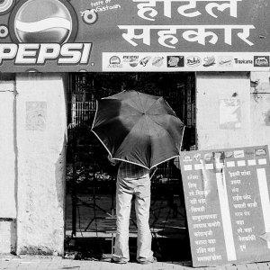 Umbrella in front of shop