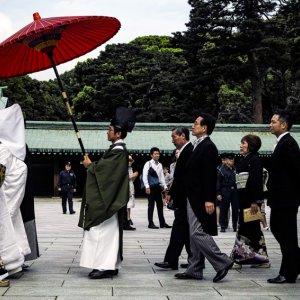 傘を差して歩く神職